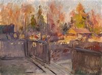 spring in the village by konstantin alexeievitch korovin