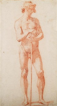 male nude with staff by jacopo (da empoli) chimenti