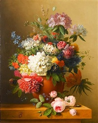 a still life of peonies, roses, honeysuckle, poppies, a crown imperial, rhododendrons and other flowers in a terracotta urn on a ledge by arnoldus bloemers