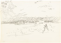 maine islands, view of bay, maine and view from great spruce head: three drawings by fairfield porter