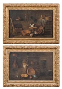 intérieur de cuisine avec un chat et intérieur de cuisine avec un poêle (pair) by giovanni domenico valentino