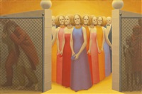 landscape with figures #3 by george tooker