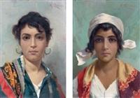 portrait de femme aux boucles d'oreilles. portrait de jeune fille coifee d'un foulard blanc (pair) by michele cortegiani