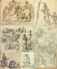 sept croquis assemblés dans un montage ancien by hubert robert