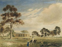 cummins house, adelaide, with john morphett and family, and a group of seated aborigines, in the foreground by john michael skipper