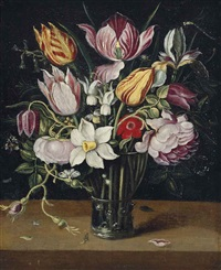 parrot tulips, roses, daffodils and other flowers in a glass roemer on a ledge by osias beert the elder