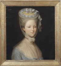 portrait of princess marie-thérèse-louise de savoie-carignan princess de lamballe in a white gown, with a gauze wrap... by pierre claude françois delorme