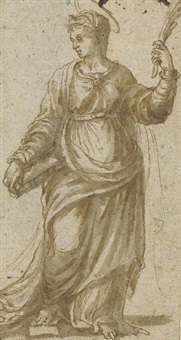 a female martyr holding a book and looking down to the left by girolamo da treviso the younger