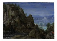 an extensive rocky landscape with travellers on a path and a mill beyond by lucas van valkenborch