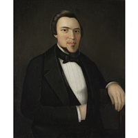 portrait of a dark haired, rosy cheeked gentleman by ammi phillips