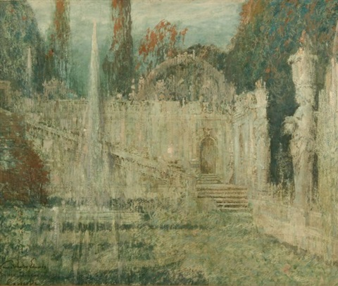 palace gardens and fountain in caprarola italy by george wharton edwards