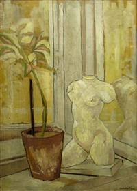 still life with statue by ion valentin anestin