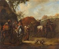 landschaft mit reitern vor einer hütte und einem ziehenden tross in der ferne by philips wouwerman