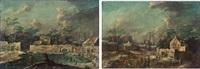pendants - winterlandschaft mit pferdeschlitten und winterlandschaft mit eisläufern (pair) by jan-peter van bredael the younger