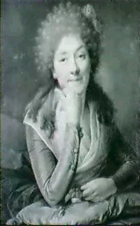 portrait de femme vue en buste, tenant une jetee de roses by françois brossard de beaulieu