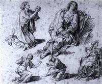 studies of women kneeling and seated by rené antoine houasse