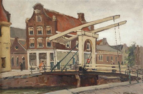 staalstraat bridge over the groenburgwal amsterdam monnikendam oil on canvas 2 works by david schulman
