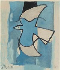 l'oiseau bleu et gris, from l'oeuvre graphique de georges braque by georges braque