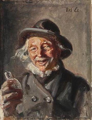 a happy man with a bottle in his hand by michael peter ancher