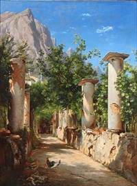 ancient columns, italy. in the background figures at the well. presumably from capri by carl frederik peder aagaard
