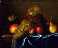 nature morte de fruits posés sur un entablement by paul liegeois