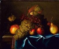 nature morte de fruits posés sur un entablement by paul liegeois