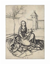 the virgin and child in a courtyard by martin schongauer
