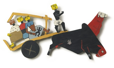 bullock cart by maqbool fida husain