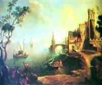 paesaggio costiero con velieri, borgo a destra e figure by gaetano veturali