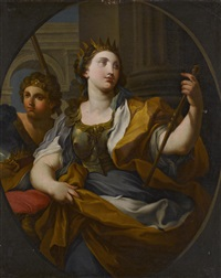 an allegory of justice and an allegory of fortitude (pair) by sebastiano conca