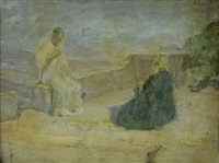 christ and nicodemus (early study) (+ pencil study of landscape, verso) by henry ossawa tanner