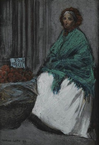 apple seller woman in polka dots brush and ink and wash wpencil on paper smllr 2 works by george benjamin luks