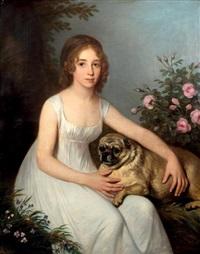 portrait de jeune fille avec son chien by henri françois riesener