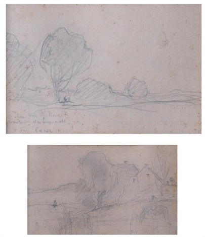 paysage aux arbres; paysage aux maisons (2 works) by jean-baptiste-camille corot