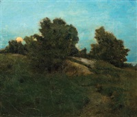 twilight in a pastoral landscape by julian alden weir