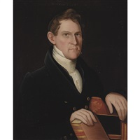 portrait of a man with boyer's dictionary by ammi phillips