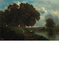 cattle resting along a riverbank by david johnson