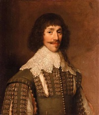 portrait of a gentleman wearing a green tunic embroidered with gold, and a white lace collar by balthazar gerbier d'ouvilly