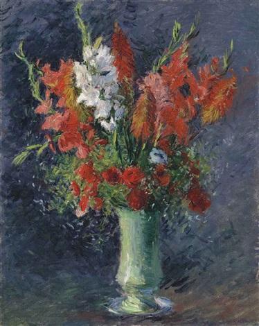 vase de glaïeuls by gustave caillebotte