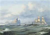 a bark and a steam ship passing the rock of gibraltar by daniel hermann anton melbye