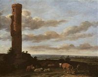 a shepherd with cattle and sheep by a tower in a landscape by anthonie van borssom