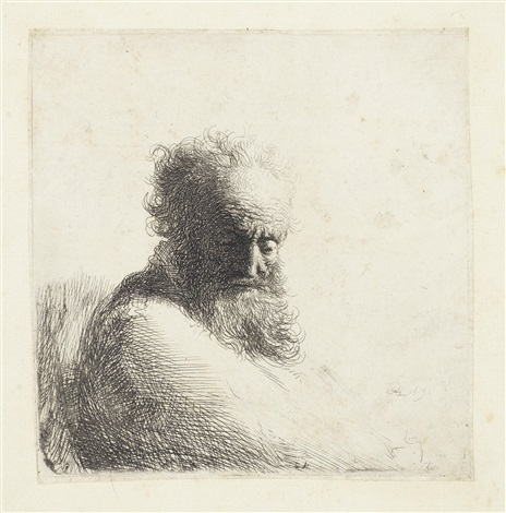 bust of an old bearded man looking down three quarters right by rembrandt van rijn
