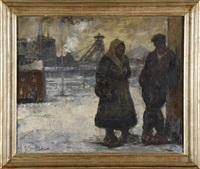 couple de mineurs le long de la sambre en hiver by pierre paulus