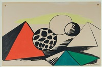 spotted orb and pyramids by alexander calder