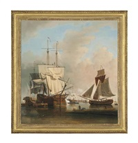 shipping on the thames at rotherhithe by samuel scott