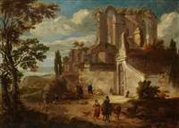 paysage de ruines romaines by mathys schoevaerdts