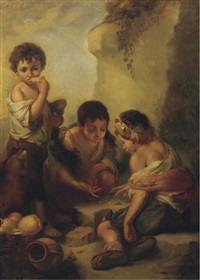 urchins playing dice and eating in a landscape (after bartolomé esteban murillo) by robert von stutterheim