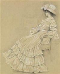 portrait d'une élégante assise sur un fauteuil by pierre labrouche