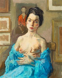 nude with blue shawl by moses soyer