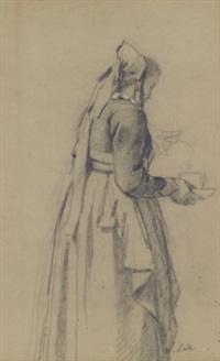 mädchen mit teetasse (+ rock mit gemusterter schürze (gewandstudie), pencil, verso) by wilhelm maria hubertus leibl